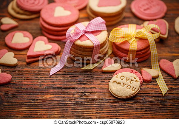 Homemade cookies for Valentine's Day - csp65078923