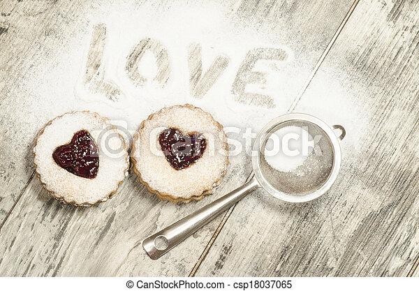 Homemade cookies Valentine's Day - csp18037065