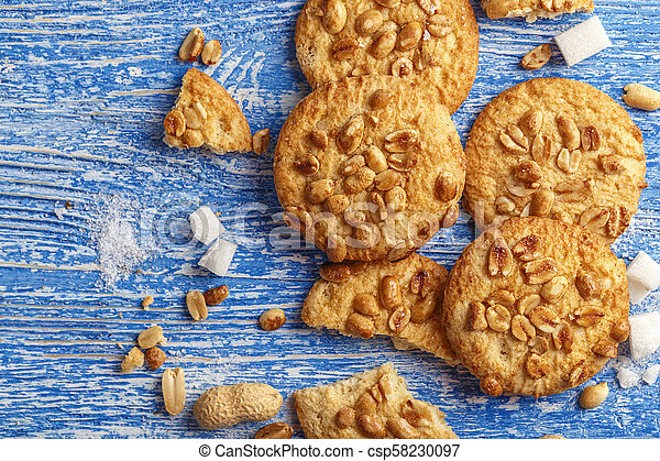 homemade cookies with peanuts - csp58230097
