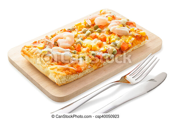 Homemade delicious fresh a slice of pizza on wooden plate. - csp40050923