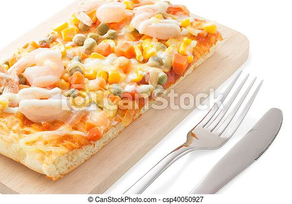 Homemade delicious fresh a slice of pizza on wooden plate. - csp40050927