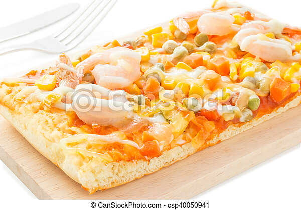 Homemade delicious fresh a slice of pizza on wooden plate. - csp40050941
