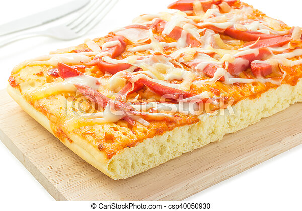 Homemade delicious fresh a slice of pizza on wooden plate. - csp40050930