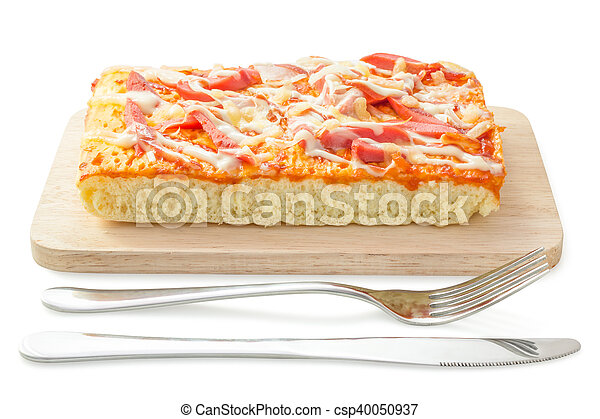 Homemade delicious fresh a slice of pizza on wooden plate. - csp40050937