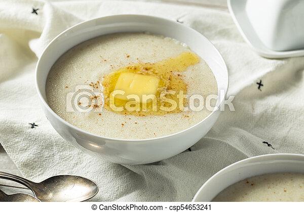 Homemade Healthy Creamy Wheat Farina Porridge - csp54653241