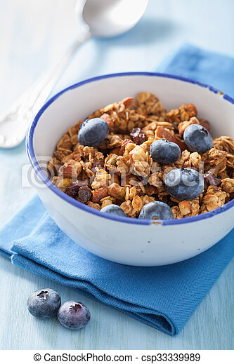 homemade healthy granola with blueberry for breakfast - csp33339989