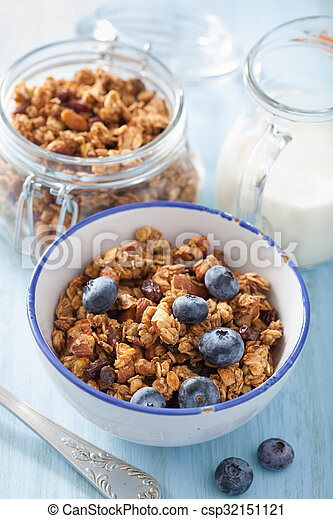 homemade healthy granola with blueberry for breakfast - csp32151121