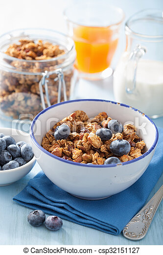homemade healthy granola with blueberry for breakfast - csp32151127