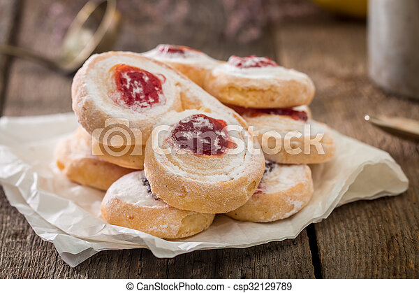 homemade jelly cookies puff pastry with red jam  - csp32129789