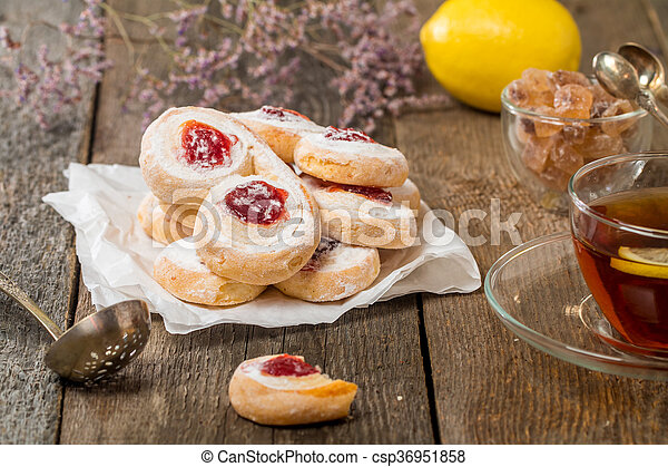 homemade jelly cookies puff pastry with red jam  - csp36951858