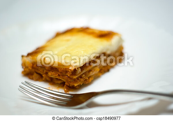 homemade lasagne on a plate - csp18490977