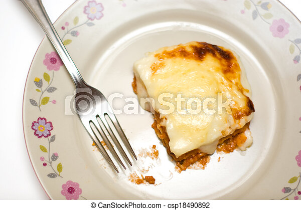 homemade lasagne on a plate - csp18490892