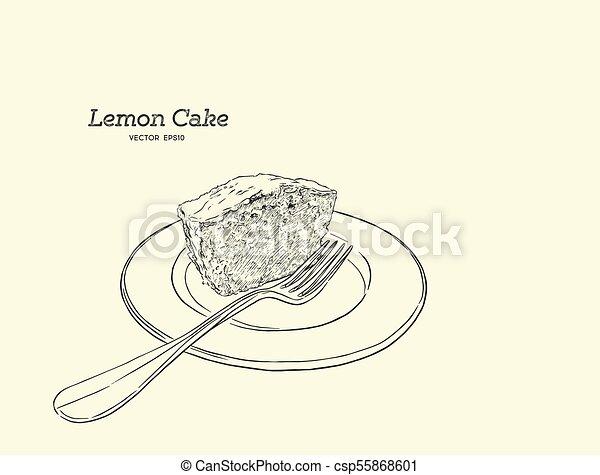 Homemade Lemon Cake With Poppy Seeds And Sugar Glaze Hand Draw