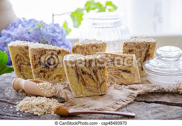 homemade oats soap - csp48493970