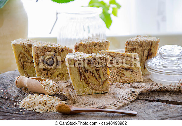homemade oats soap - csp48493982