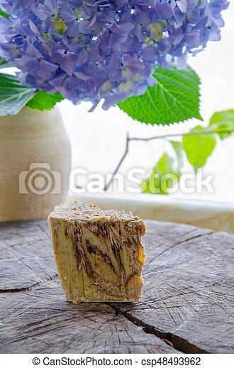 homemade oats soap - csp48493962