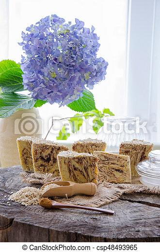 homemade oats soap - csp48493965