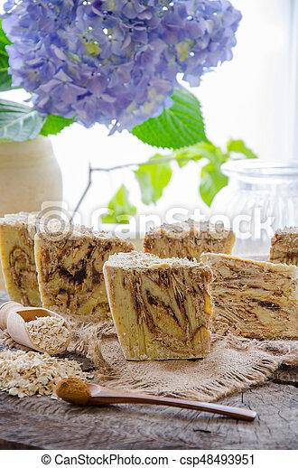 homemade oats soap - csp48493951