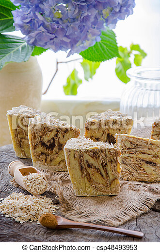 homemade oats soap - csp48493953