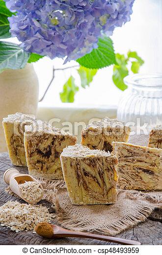 homemade oats soap - csp48493959