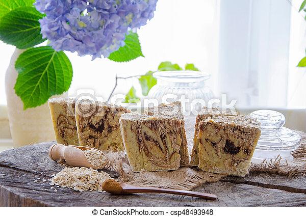 homemade oats soap - csp48493948