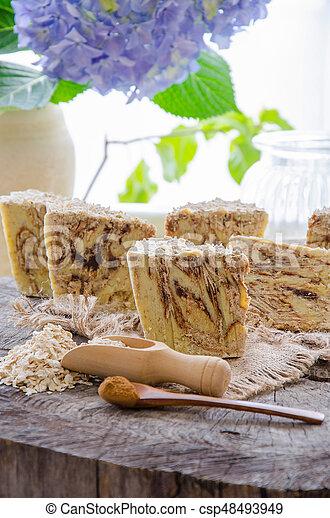 homemade oats soap - csp48493949