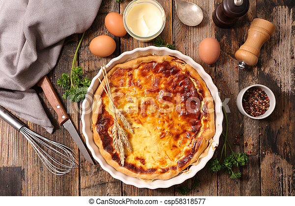 homemade quiche with cream, cheese and bacon - csp58318577