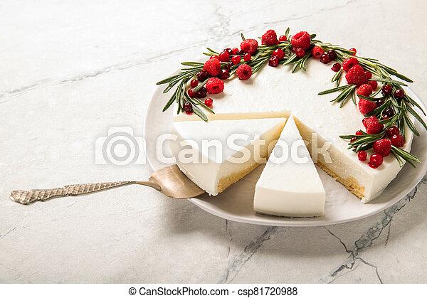 Homemade raspberry cheesecake on a plate - csp81720988