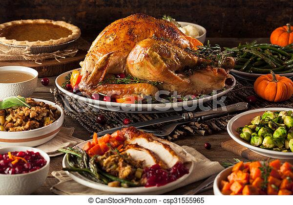 Homemade Roasted Thanksgiving Day Turkey - csp31555965