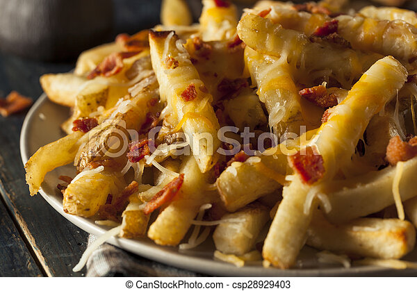 Homemade Salty Cheese French Fries  - csp28929403