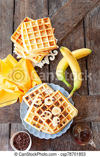 Homemade waffles with fresh fruits - csp78701853