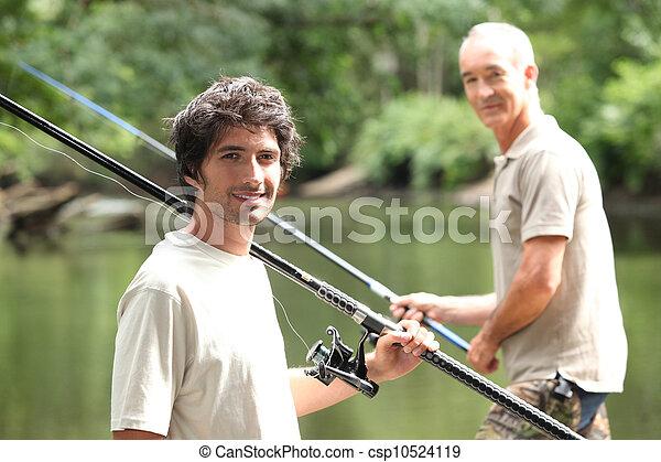homens, pesca lago - csp10524119