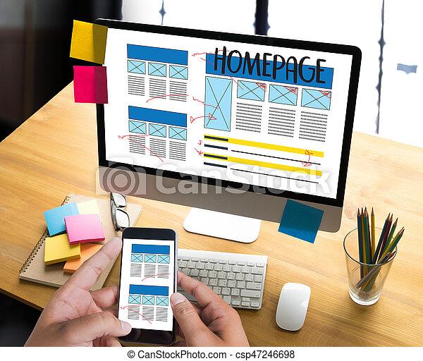 HOMEPAGE Global Address Browser Internet Website Design Software Media WWW  Domain HTML Innovation Technology Homepage - csp47246698