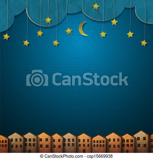 Homes and moon with stars from paper - csp15669938