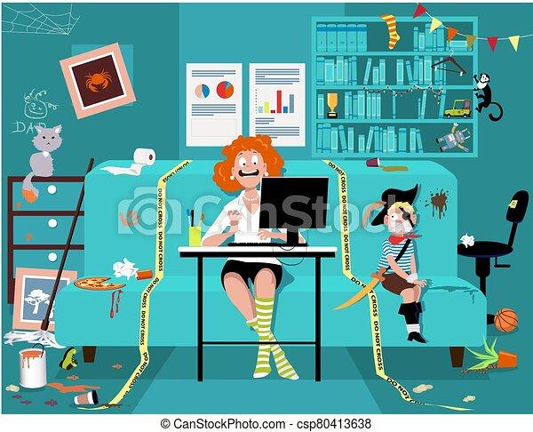 homeschooling, oldás, dolgozó, otthon - csp80413638