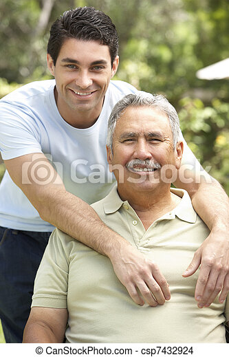 homme aîné, jardin, adulte, fils - csp7432924
