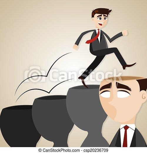 homme affaires, étape, tête, dessin animé - csp20236709