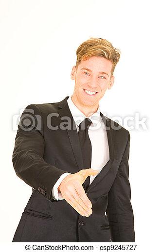 homme affaires, étendre, sien, main - csp9245727