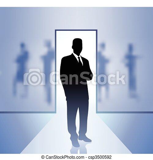 homme affaires, cadre, foyer, arrière plan flou - csp3500592