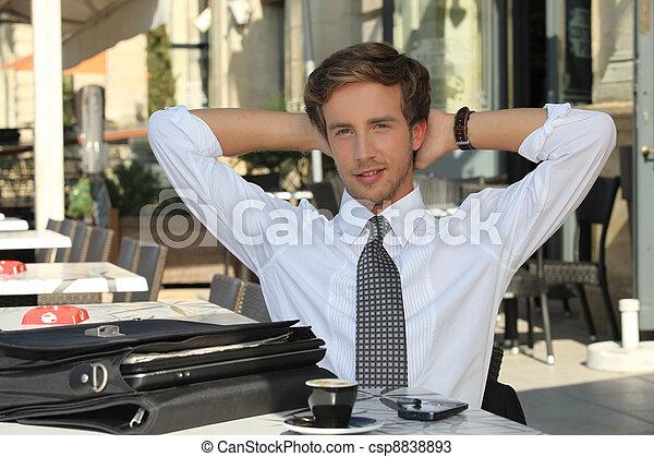 homme affaires, café, avoir - csp8838893
