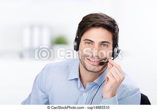 homme affaires, casque - csp14883310