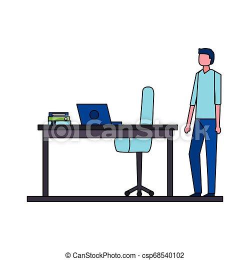 homme affaires, chaise, informatique, bureau bureau - csp68540102
