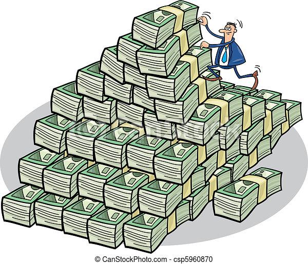 homme affaires, escalade, argent, montagne - csp5960870