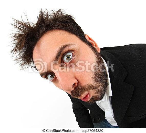 homme affaires, fou, expression, jeune, facial - csp27064320