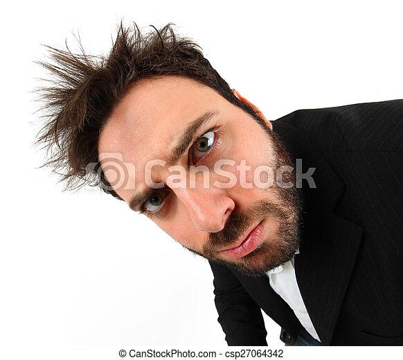 homme affaires, fou, expression, jeune, facial - csp27064342