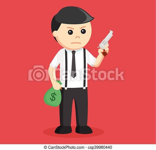 homme affaires, fusil, tenant argent - csp39980440