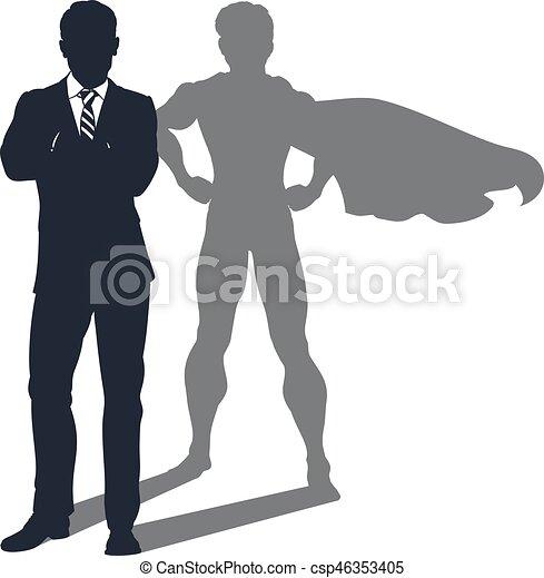 homme affaires, ombre, superhero - csp46353405