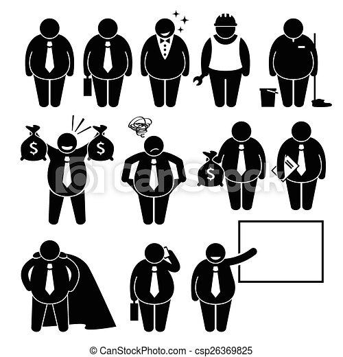 homme affaires, ouvrier, graisse, homme affaires - csp26369825