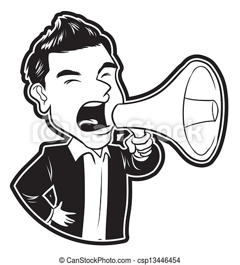 homme affaires, porte voix - csp13446454