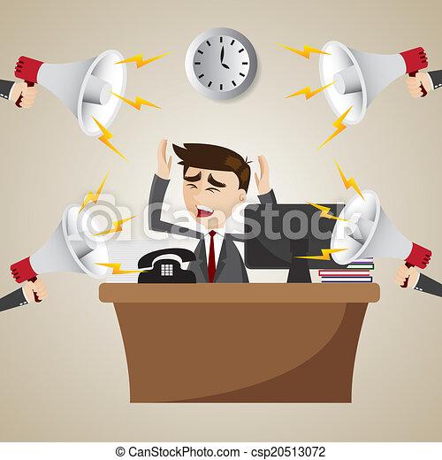 homme affaires, porte voix, dessin animé, fonctionnement, bruyant - csp20513072